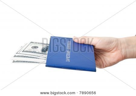 Hand With The Record Book And Money.  Bribe.