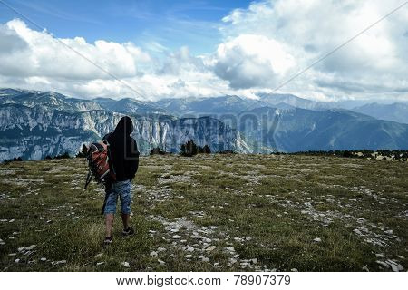 Lonely traveller in Glandasse mountains