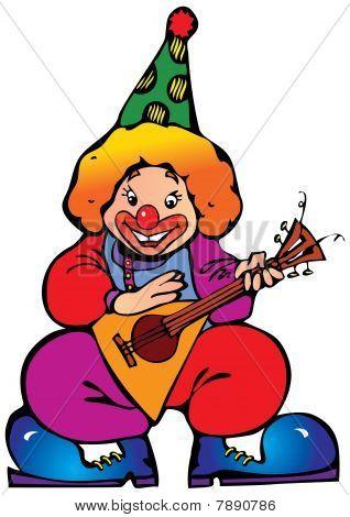 Clown with balalaika.