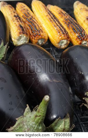 Barbecuing Vegetables On Charcoal Fire Closeup Image.