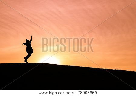 Happy Woman Dancing Against A Setting Sun