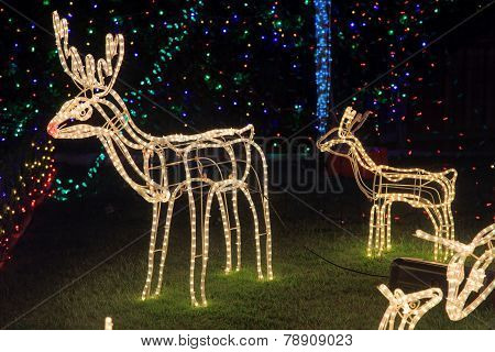 Reindeer Christmas Decorations Bright Light