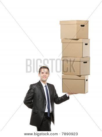 Businessman holding a paper boxes