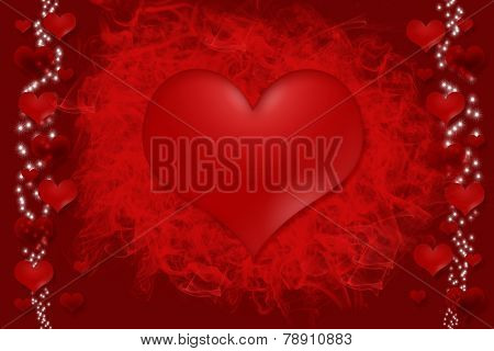 Hot Heart On Red Background