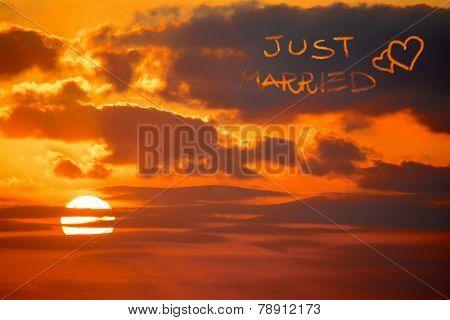 Just Married Written At Sunset
