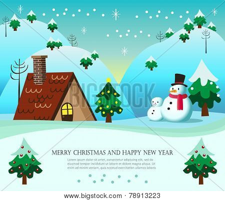 Christmas Card With Snowman And Snowboy