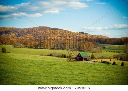 Rural Mountain Scene in Fall