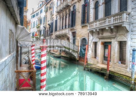 Small Canal In Venice, Italy