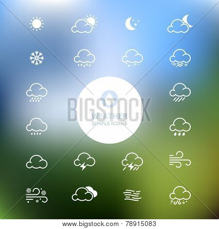 Simple Line Weather Icon Set On Blurred Landscape Background. Vector Illustration