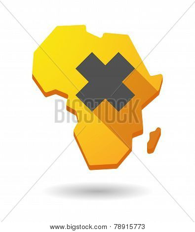 Africa Continent Map Icon With An Irritating Substance Sign