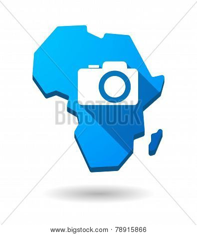 Africa Continent Map Icon With A Photo Camera
