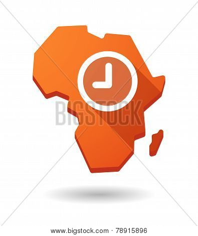 Africa Continent Map Icon With A Clock