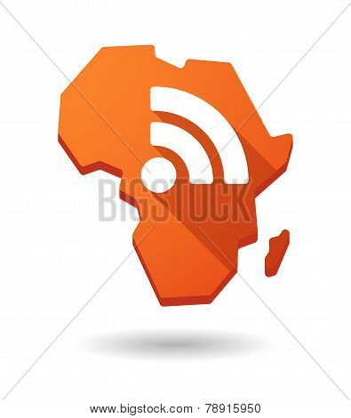 Africa Continent Map Icon With A Rss Sign