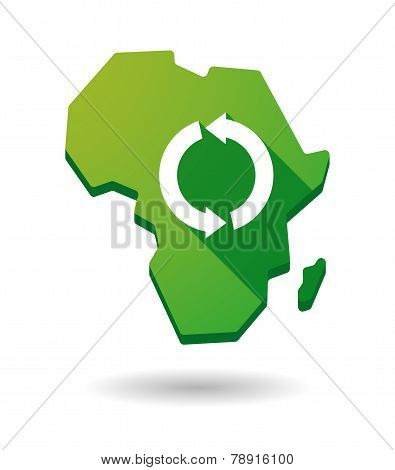 Africa Continent Map Icon With A Recycle Sign
