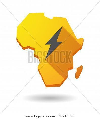 Africa Continent Map Icon With A Lightning