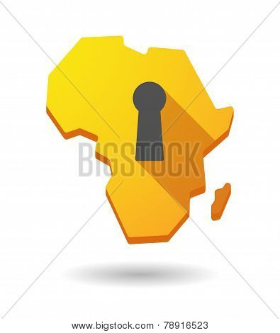 Africa Continent Map Icon With A Key Hole