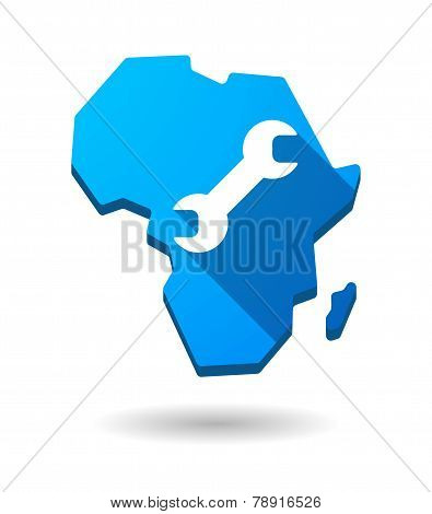 Africa Continent Map Icon With A Wrench