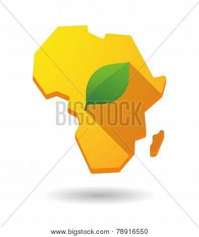 Africa Continent Map Icon With A Leaf