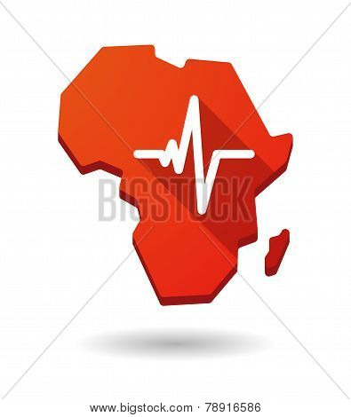 Africa Continent Map Icon With A Heart Beat Sign