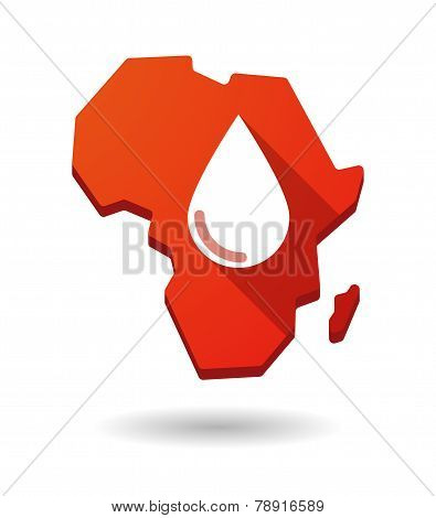 Africa Continent Map Icon With A Blood Drop