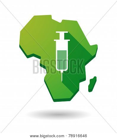 Africa Continent Map Icon With A Syringe