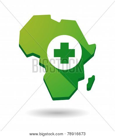 Africa Continent Map Icon With A Pharmacy Sign
