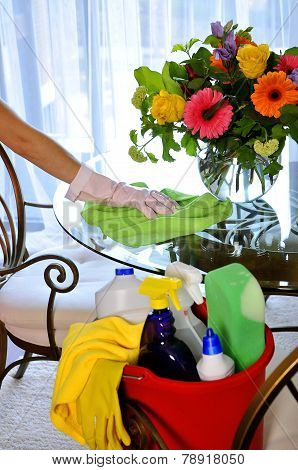 Cleaning service bucket with cleaning supplies