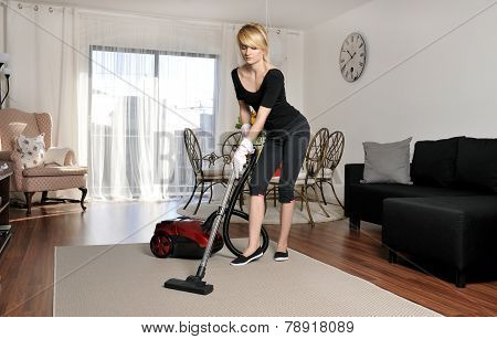 Cleaning lady vacuuming couch
