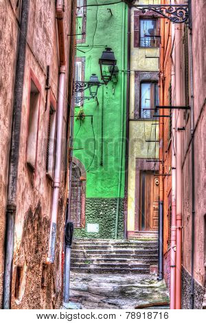 Narrow Backstreet In Bosa Old Town