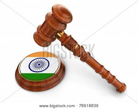 Wooden Mallet and Indian flag (clipping path included)