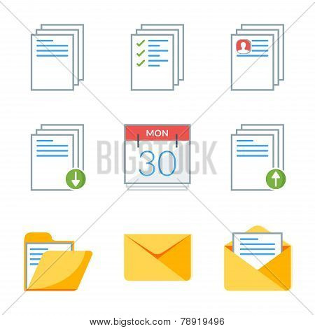 Flat Style Icon Set For Web And Mobile Application. Basic Icons, Document, Calendar, Folder, Mail