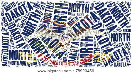 Flag Of American State. Word Cloud Illustration.