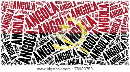 National Flag Of Angola. Word Cloud Illustration.
