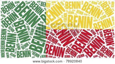National Flag Of Benin. Word Cloud Illustration.