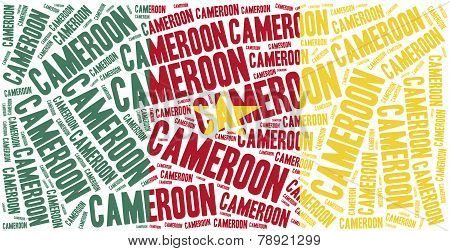 National Flag Of Cameroon. Word Cloud Illustration.