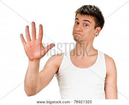 Portrait man showing five fingers