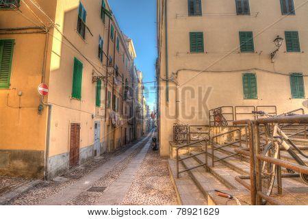 Colorful Backstreet In Alghero Old Town