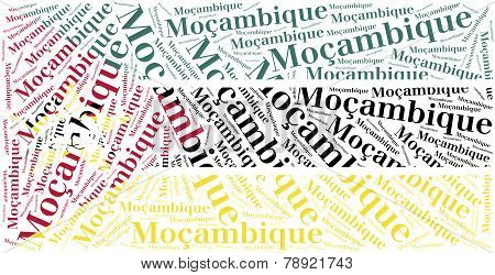 National Flag Of Mozambique. Word Cloud Illustration.