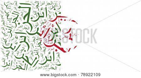 National Flag Of Algeria. Word Cloud Illustration.