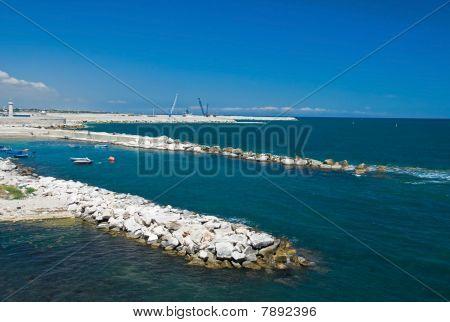 Panoramic view of Molfetta harbour. Apulia.