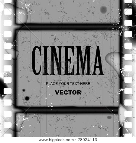Grunge black and white frame and background with spoiled vintage film strip. Vector illustration