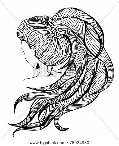 Long Ponytail -line Art