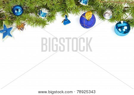 Christmas Decoration With Blue Ornamentals And Green Fir Tree