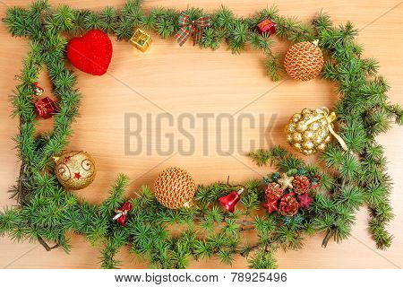 Christmas Decoration With Fir Tree  And Ornamentals Gifts