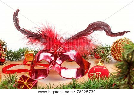 Christmas Decoration With Fir Tree , Glamor Mask Masquerade For Party And Celebration