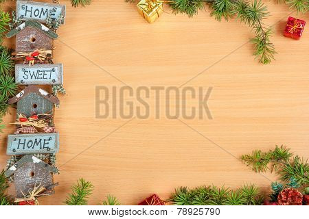 Christmas Decoration With Fir Tree And Gift With A Motif Or Motive Home Sweet Home
