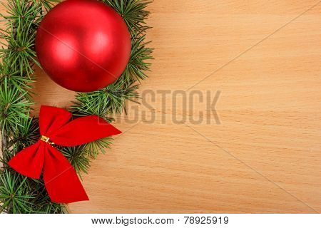 Christmas Decoration With Fir Tree And Red Ornamentals On Wooden Board Or Table
