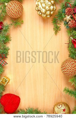 Christmas Decoration With Fir Tree  And Ornamentals On Wood Board With Copyspace