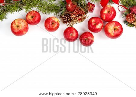 Christmas Decoration With Red Apples And Green Fir Tree