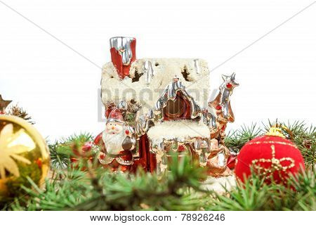 Porcelain House With Santa And Decorations Around
